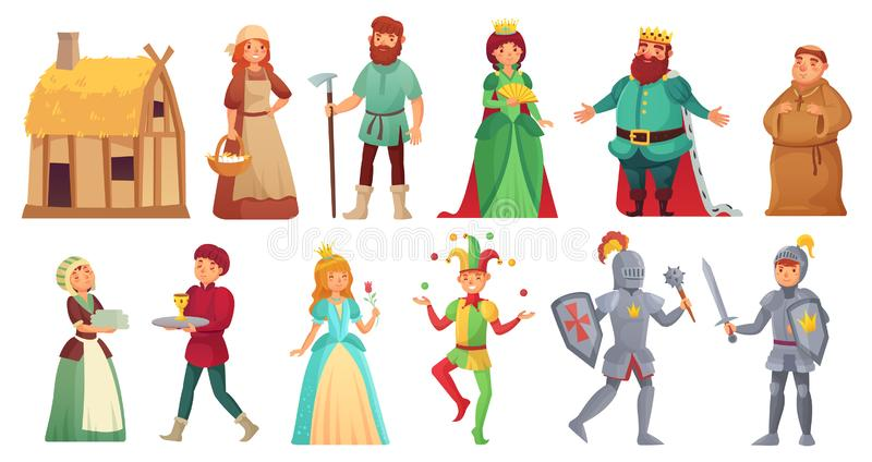 Medieval historical characters. Historic royal court alcazar knights, medieval peasant and king isolated cartoon vector royalty free illustration