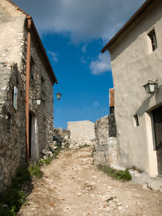 Medieval houses in fortress. Medieval fortress of Rasnov. It is located at about 15 km from the city of Brasov and about the same distance from Bran, on the stock images
