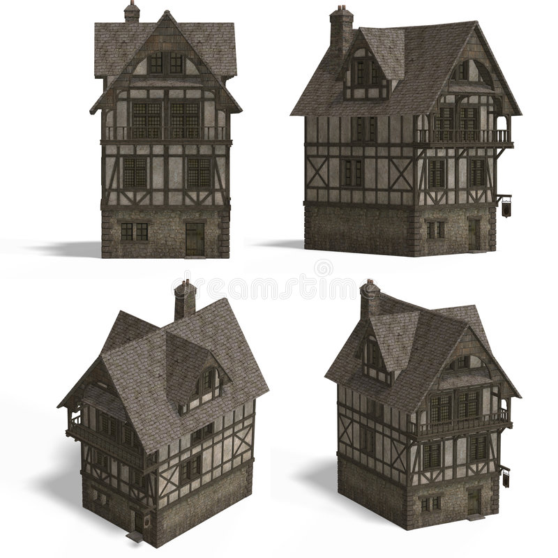 Download Medieval Houses - Inn stock illustration. Image of over - 4497140