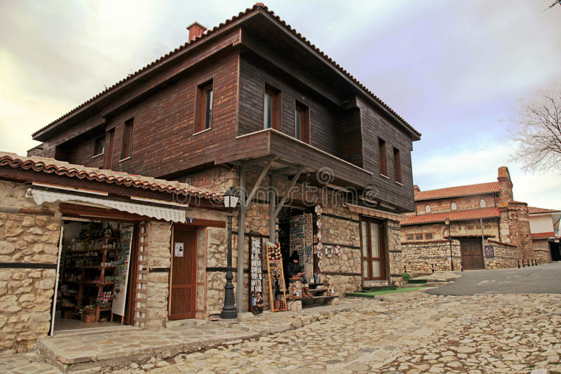 Medieval houses in the Old Town of Nesebar, Bulgaria royalty free stock image