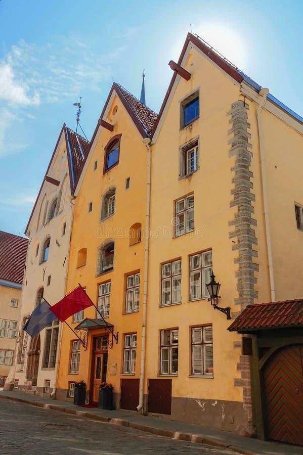 Medieval houses on Pikk street in Tallinn, Estonia royalty free stock photography