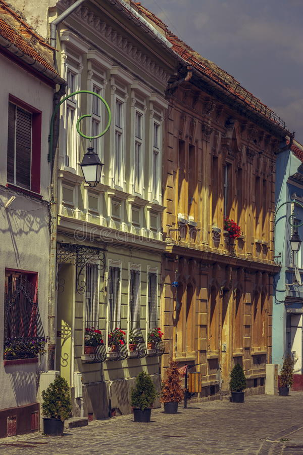 Medieval houses and promenade stock image