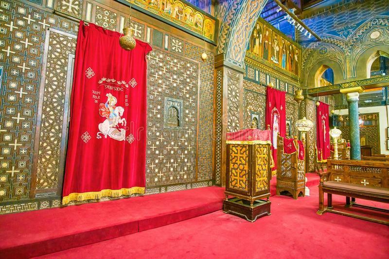The medieval iconostasis of St Virgin Mary Church in Cairo, Egypt. CAIRO, EGYPT - DECEMBER 23, 2017: The old medieval iconostasis in the Nave of the Hanging royalty free stock image