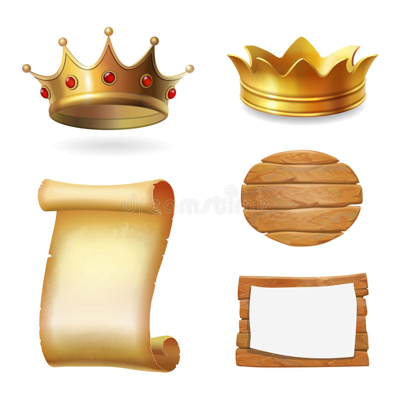 Medieval icons. Gold crown, scroll and signboard. Illustration vector. Medieval icons. Gold crown, scroll and signboard. Illustration vector stock illustration