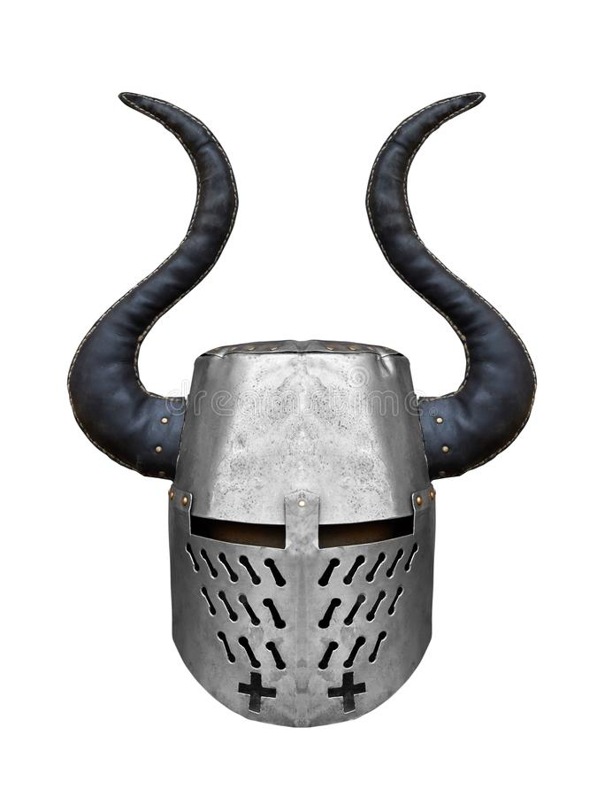 Medieval iron knight`s helmet with big horns royalty free stock photos