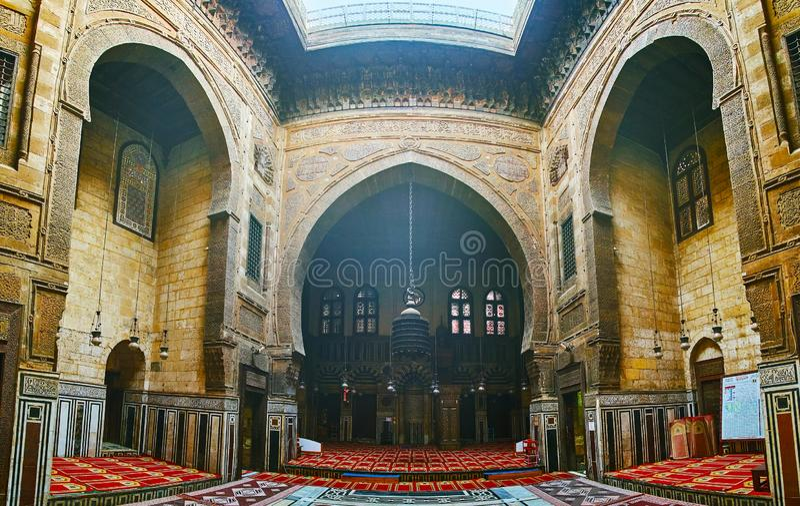 Medieval Islamic art and architecture, Al-Ghuri complex, Cairo,. CAIRO, EGYPT - DECEMBER 21, 2017: Al-Ghuri Mosque-Madrasa is fine example of medieval Islamic stock photo