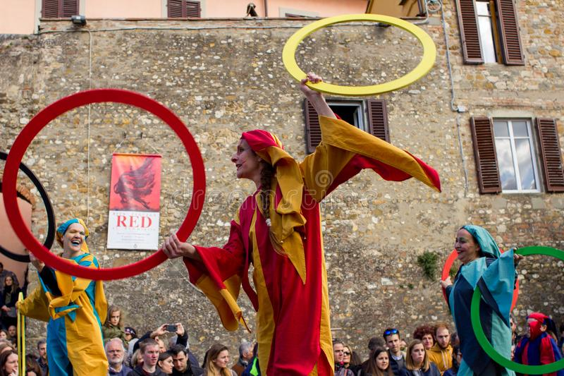 Medieval juggler on italian street. stock image