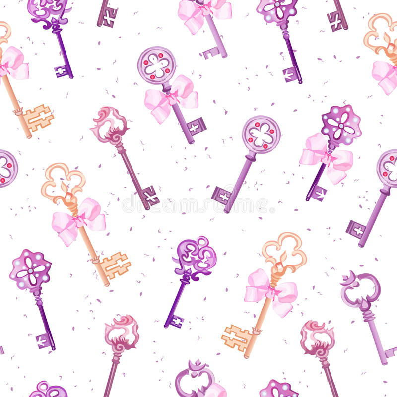 Medieval keys with pink bows seamless vector pattern stock illustration