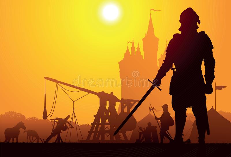 Medieval knight. With the camp and castle on background stock illustration