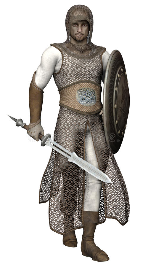 Medieval knight. 3D render of a medieval knight with a sword stock illustration