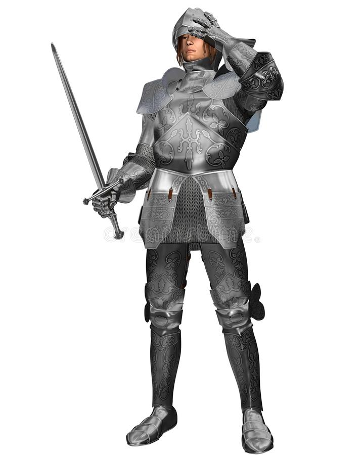 Medieval Knight in Decorated Armour. Medieval or Fantasy Knight in decorated armour raising his visor, 3d digitally rendered illustration stock illustration