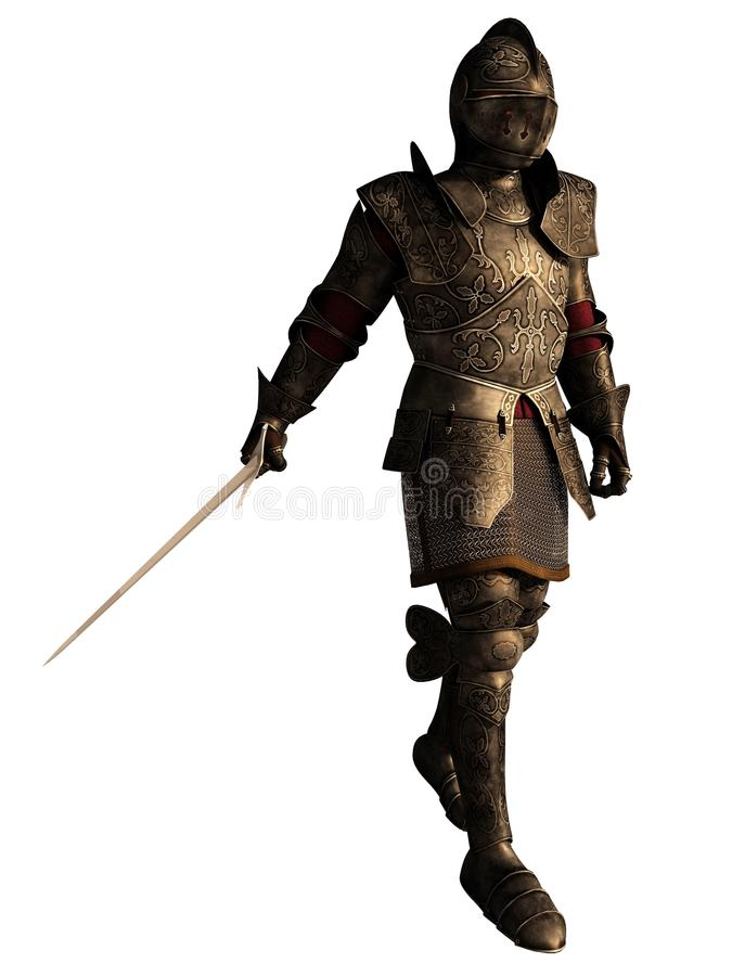 Medieval Knight in Decorated Armour with Sword. Illustration of a European Medieval or Fantasy Knight in decorated armour holding a sword, 3d digitally rendered stock illustration