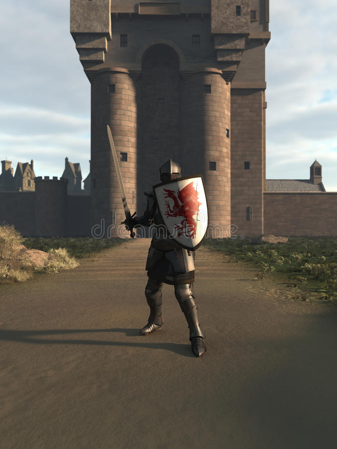 Medieval Knight Defending the Castle Gate. Illustration of a Medieval knight in Italian Milanese style armour defending a castle gate, 3d digitally rendered vector illustration