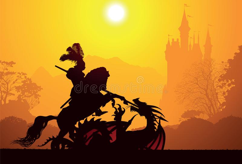 Medieval knight and dragon. With castle on the background royalty free illustration