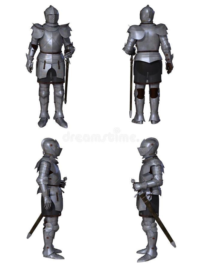 Medieval Knight Fantasy Character Set (Milanese) royalty free stock photos