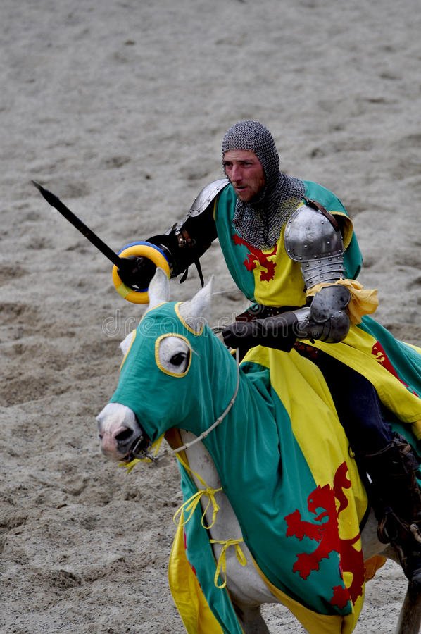 Medieval knight on horseback royalty free stock photo