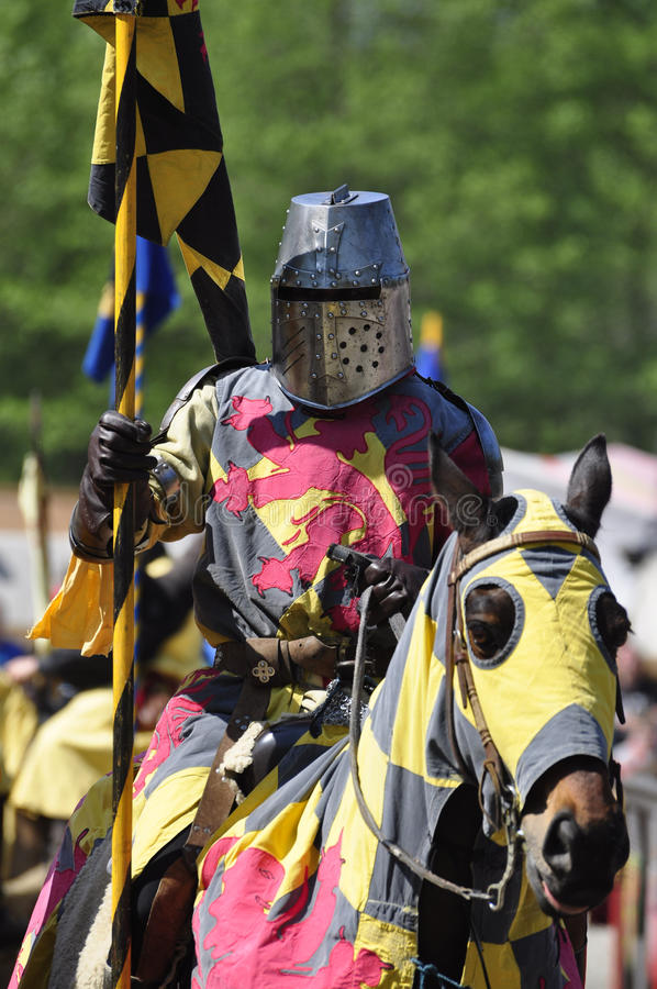 Medieval knight on horseback stock image