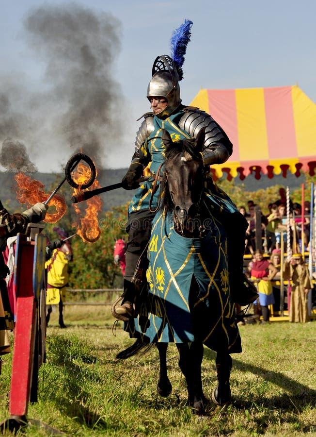 Medieval knight on horseback royalty free stock photos