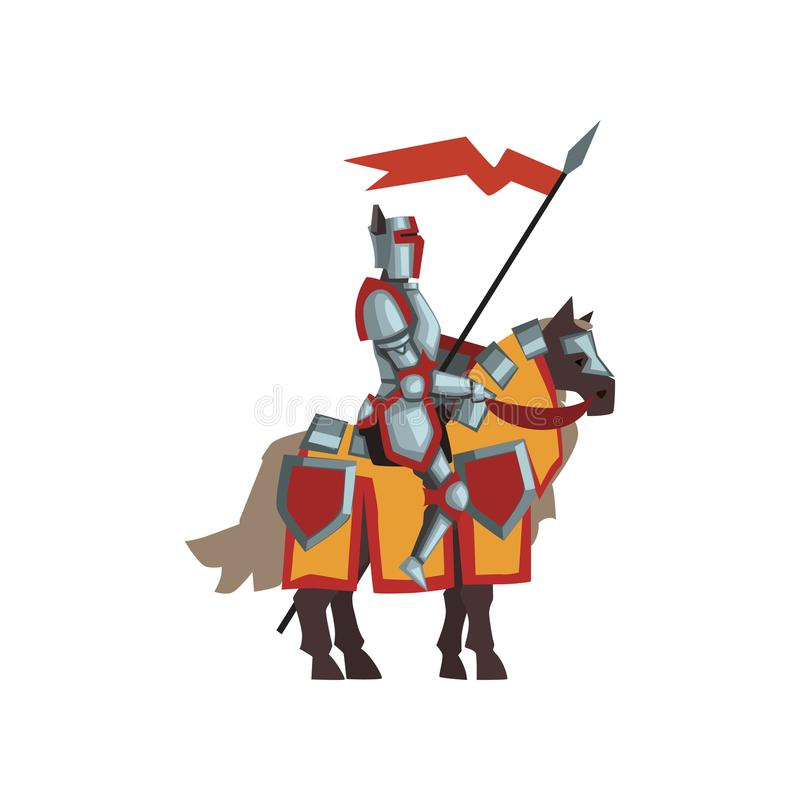 Free Medieval Knight In Shiny Armor. Brave Royal Guardian Sitting On Horse And Holding Red Flag. Flat Vector Design For Royalty Free Stock Image - 114035586