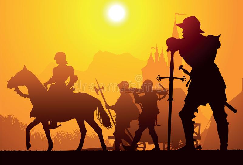 Medieval knight with the longsword. With castle on the background vector illustration