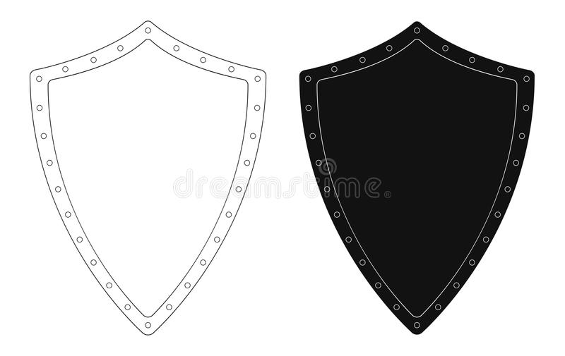 Medieval Knight Shield With Rivets. Contour Stock Vector ...