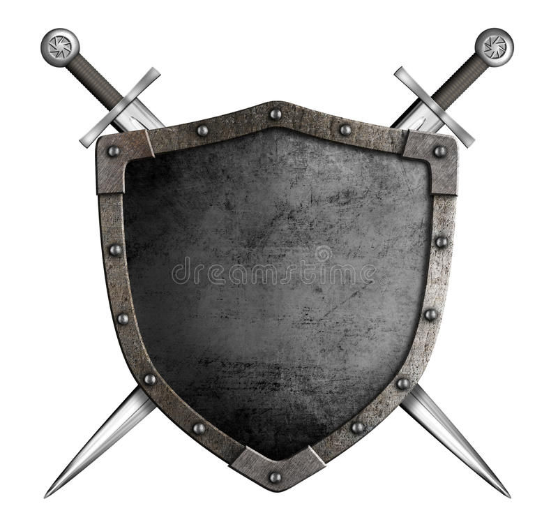 Medieval knight shield and swords as coat of arms. Coat of arms medieval knight shield and sword isolated on white royalty free stock photos