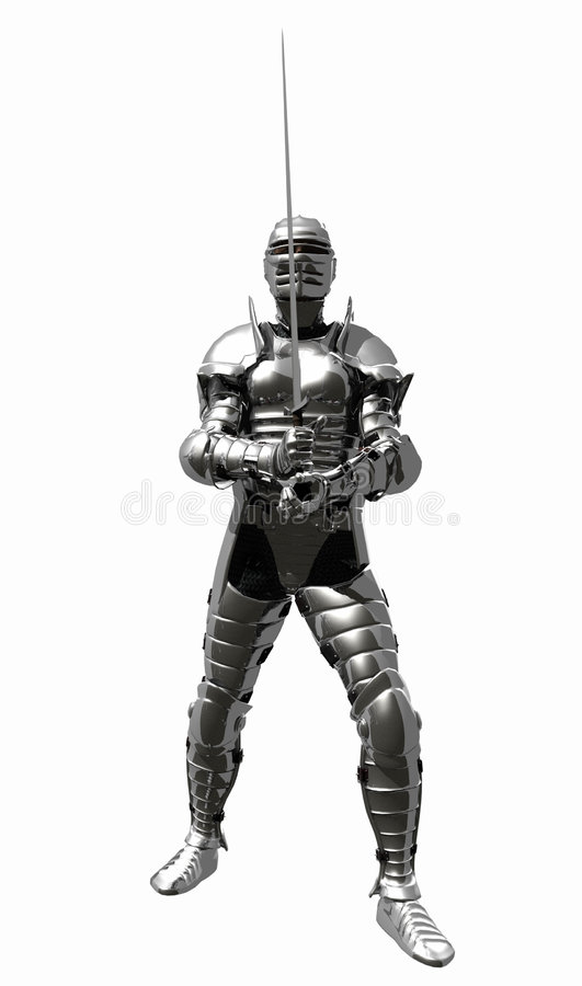 Medieval Knight in Shining Armour - En Guard. A digital render of a Medieval Knight in bright shining armour with sword at the ready stock illustration