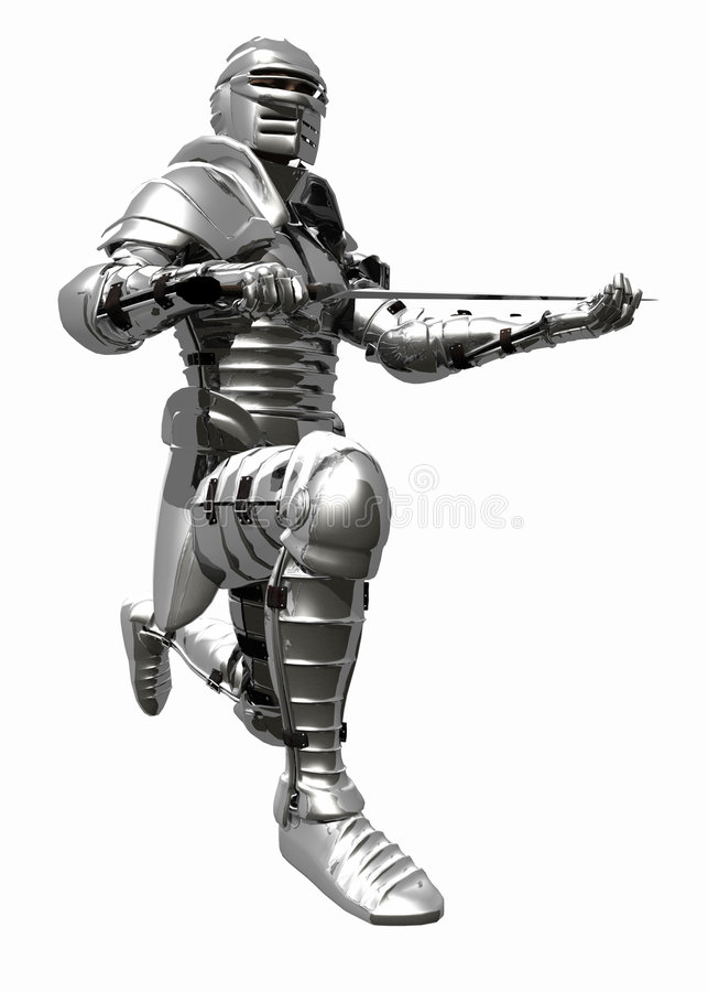Medieval Knight in Shining Armour - Knights Pledge. A digital render of a Medieval Knight in bright shining armour kneeling to pledge his sword stock illustration