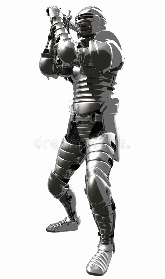 Medieval Knight in Shining Armour - Overhand Cut. A digital render of a Medieval Knight in bright shining armour with sword raised to strike stock illustration