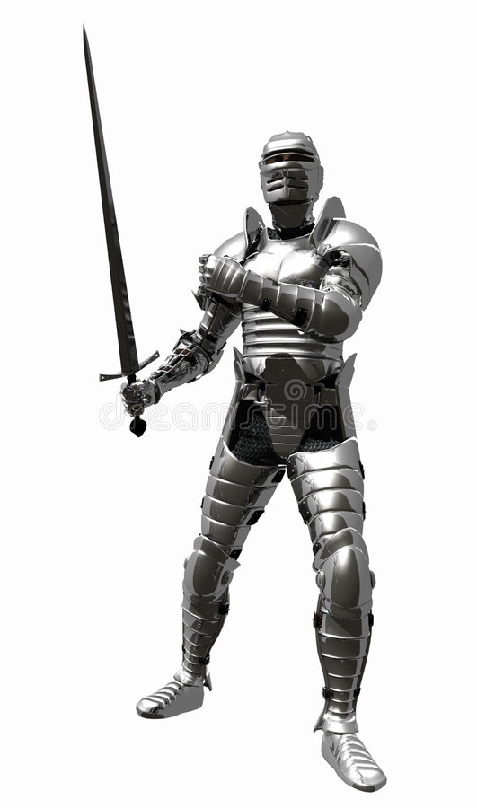 Medieval Knight in Shining Armour - Sword Back. A digital render of a Medieval Knight in bright shining armour with sword at the ready stock illustration