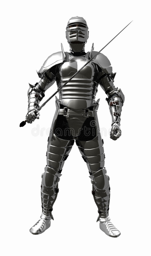Medieval Knight in Shining Armour - Sword Ready. A digital render of a Medieval Knight in bright shining armour with sword at the ready royalty free illustration