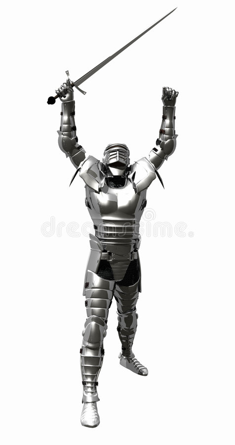 Medieval Knight in Shining Armour - Victory. A digital render of a Medieval Knight in bright shining armour with arms raised in victory vector illustration