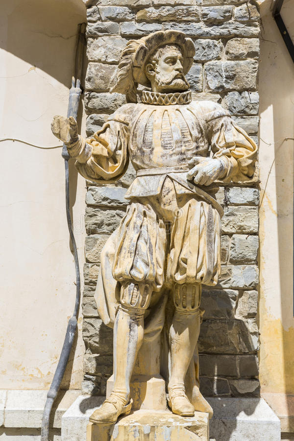 Medieval knight statue stock photo