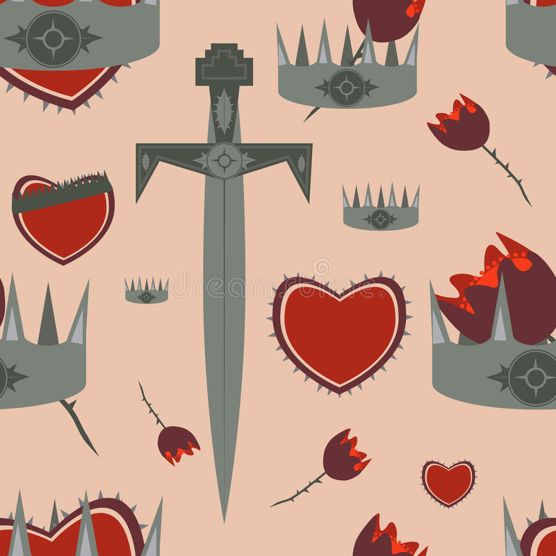 Medieval knight themed pattern stock images