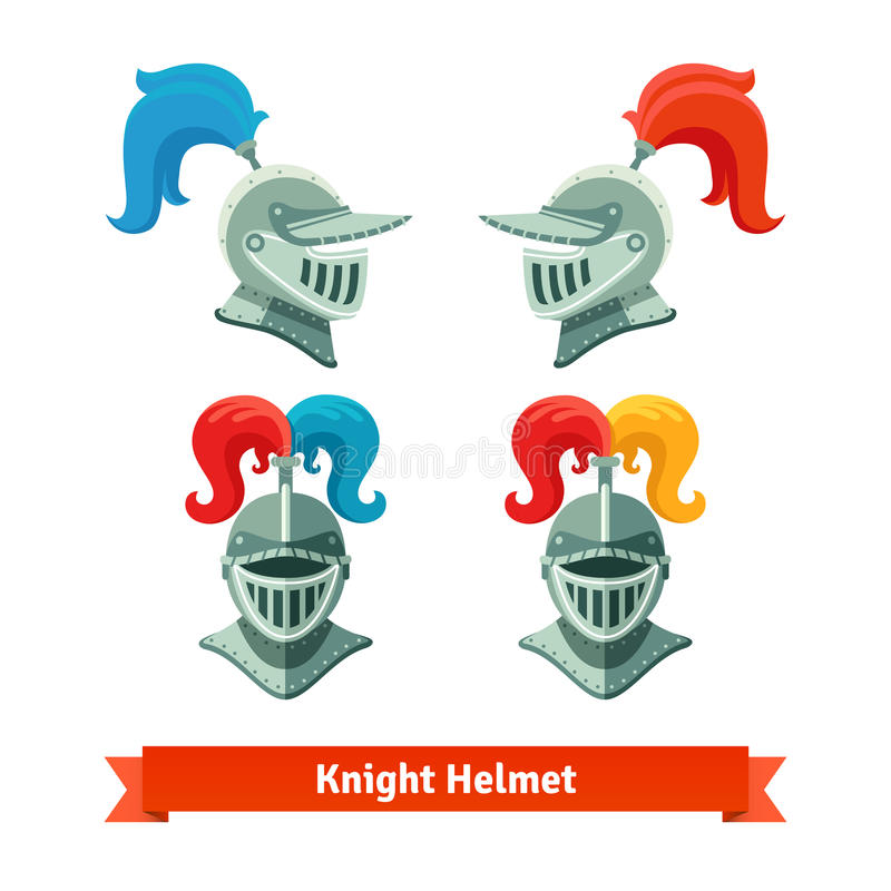 Medieval knights helmet with plume. Font and side royalty free illustration