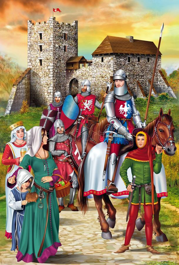 Medieval Knights Illustration. Polish Medieval Knights with Wives and the Medieval Castle Illustration stock illustration