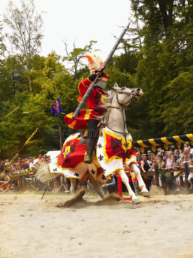 Medieval Knights Horse Riding Jousting, Prague Castle stock photo