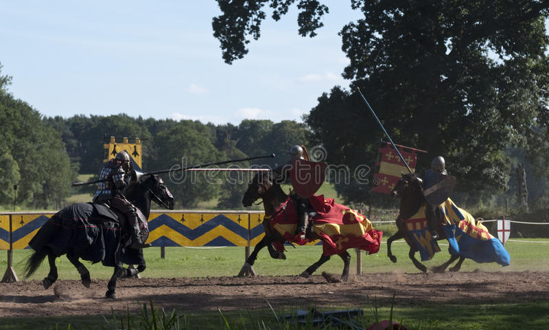 Download Medieval Knights Jousting At Warwick Castle Stock Image - Image of charge, castle: 15892697