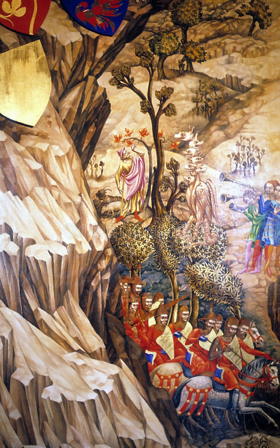 Medieval knights in narrow canyon stock illustration