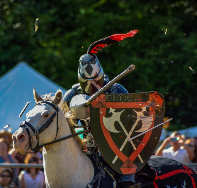 Knights. A picture of a medieval knights jousting, taken at the Loxwood Joust Aug 2014 stock images