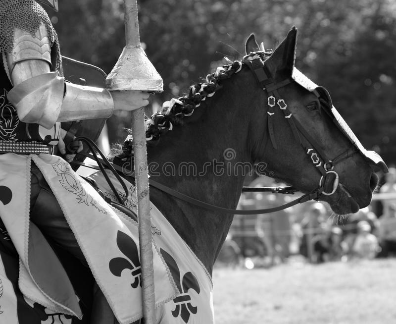 Knights. A picture of a medieval knights taken at the Loxwood Joust Aug 2014 stock photos