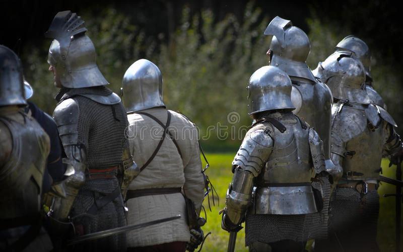 Medieval Knights. A picture of medieval knights taken at the Loxwood Joust Aug 2014 stock image
