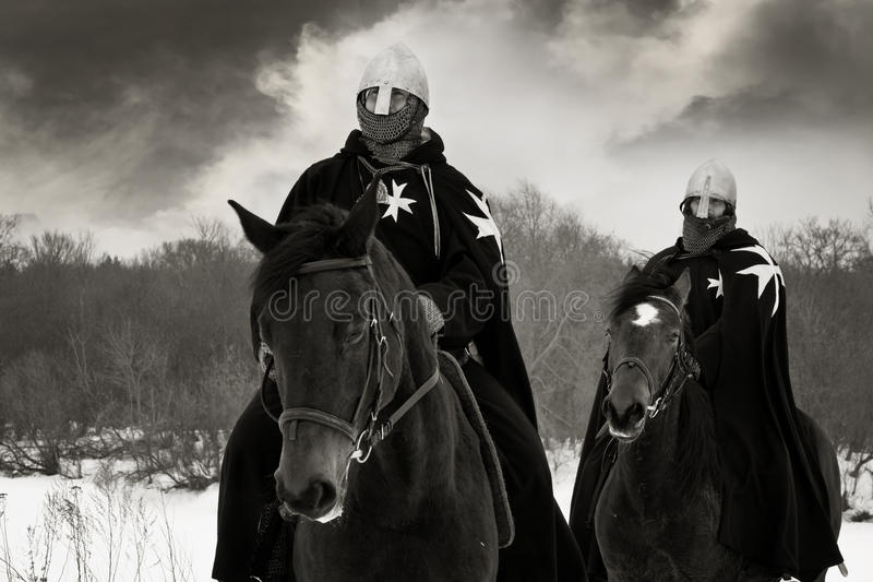Medieval knights of St. John (Hospitallers) royalty free stock images