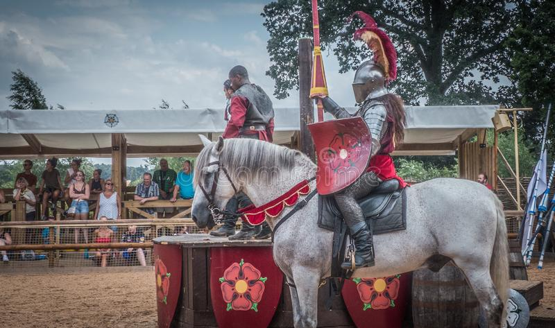 Medieval Knights at Warwick Castle. A reenactment of the war of the Roses at the medieval Warwick Castle, Warwickshire, England, Europe stock photos