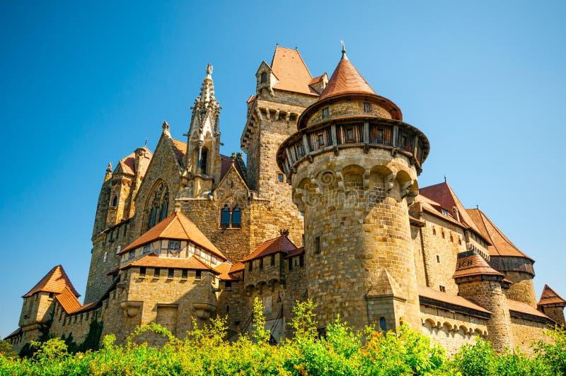 The medieval Kreuzenstein castle in Leobendorf village. Near Vienna, Austria royalty free stock photography