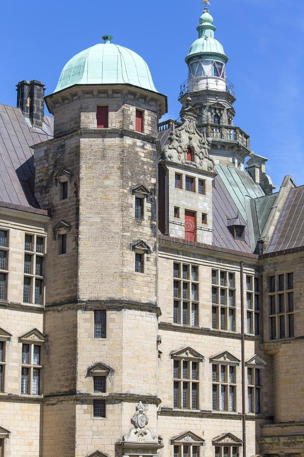 Medieval Kronborg Castle on the Oresund Strait, Baltic Sea, Helsingor, Denmark royalty free stock photography
