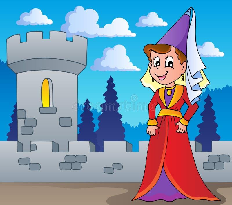Medieval lady theme image 1 royalty free illustration