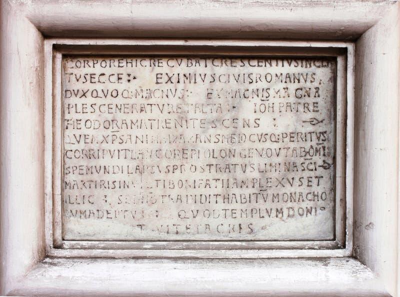 Medieval latin catholic inscription stock photos