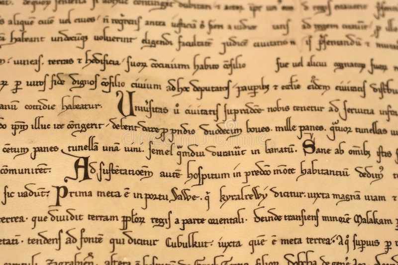 Medieval latin script royalty free stock photography