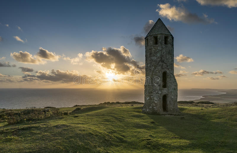 Medieval Lighthouse at Sunset royalty free stock photo